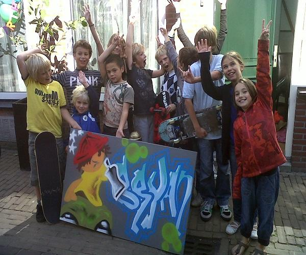 Graffiti feestje in Vleuten
